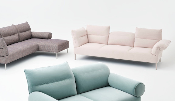 HAY sofa Brown sofa, seafoam green sofa, off-white sofa, modular, with adjustable backrests and armrests, pillows on white background