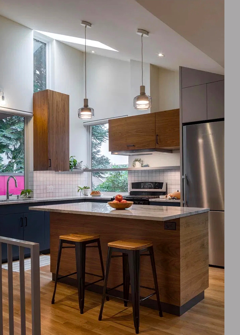 Modern modular kitchen with island wood cabinets and blue cabinets
