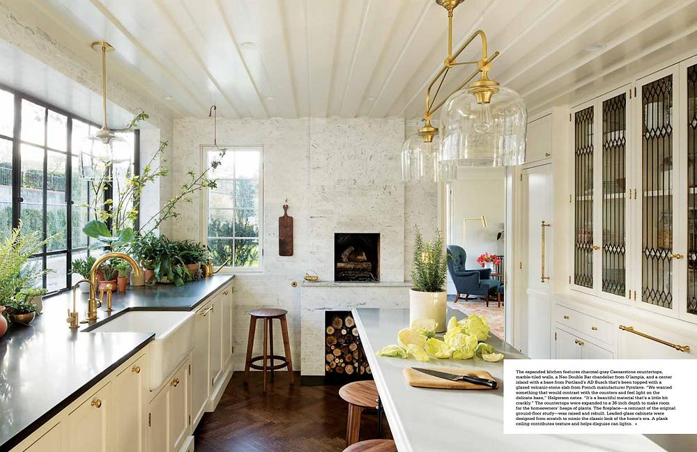 vintage modern farmhouse kitchen with marble tiles kitchen island, fireplace