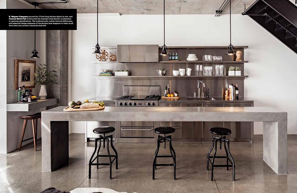 modern industrial kitchen with concrete island