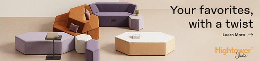 Hightower Studio modular furniture in purple lavender rust ecru throw pillows octogons on tan floor