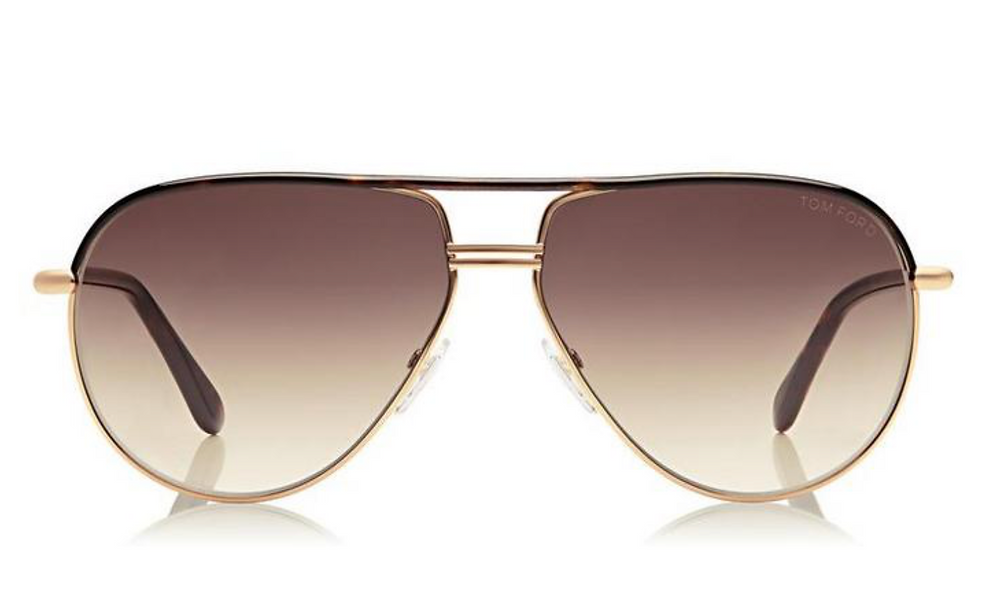 Tom Ford Cole Aviators in dark Havana with gold frame, tortoise brow bar, smoky bronze gradient lenses, and classic metal details