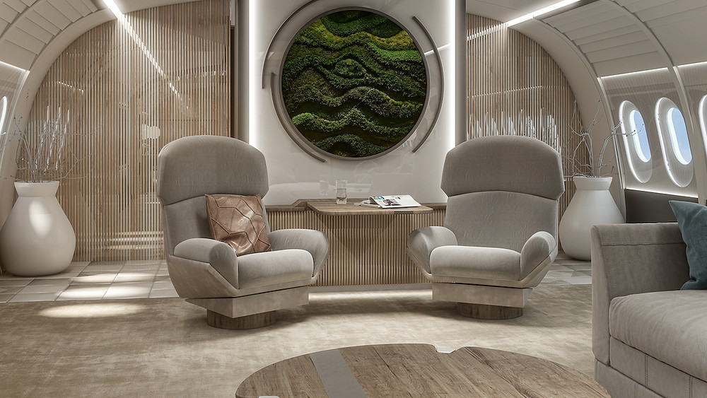 Luxury airplane cabin rendering with plush sofa and pillows, lounge chairs, green wall, sky light simulation, biophilic design, round moss wall art, vertical garden