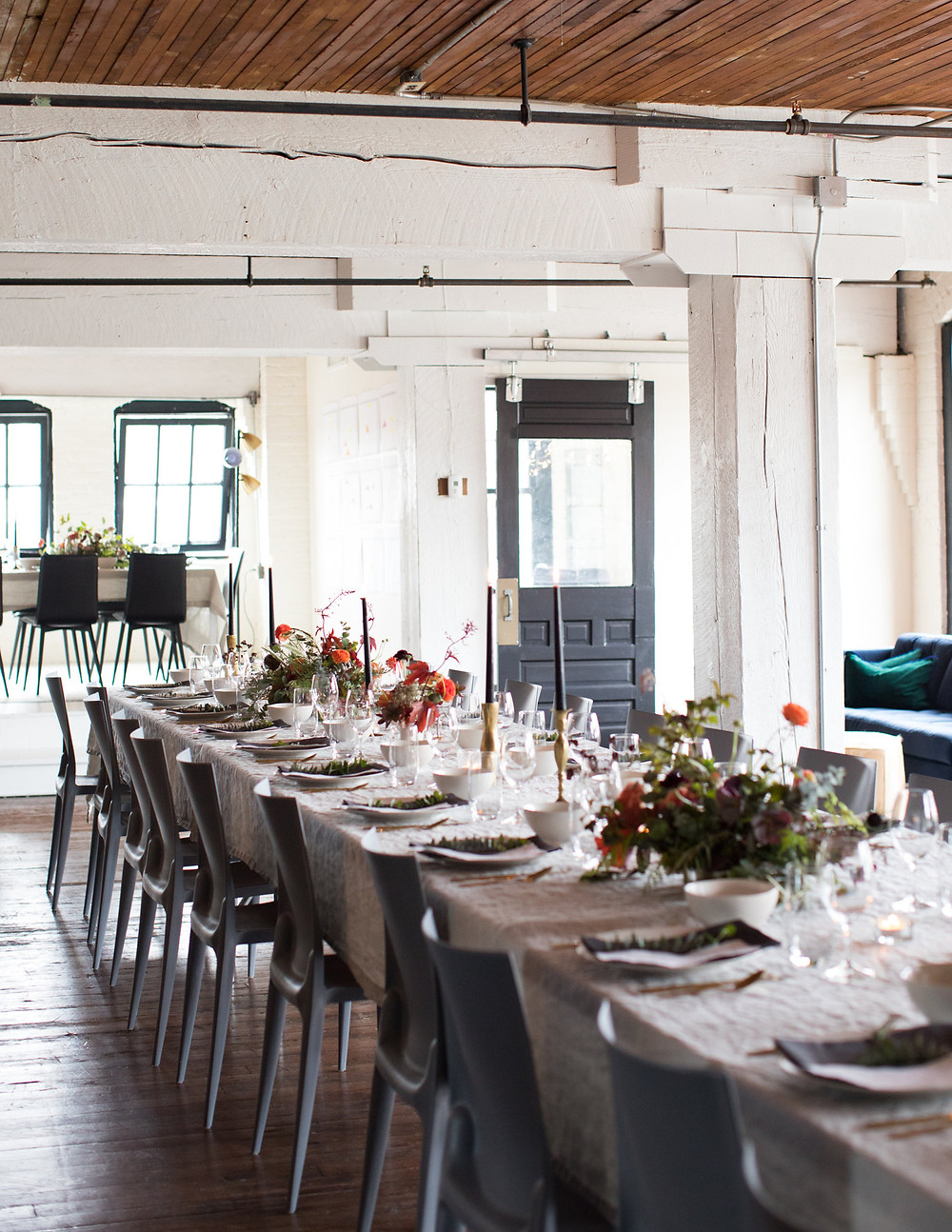 Table setting design, long dinner table and chairs, place settings