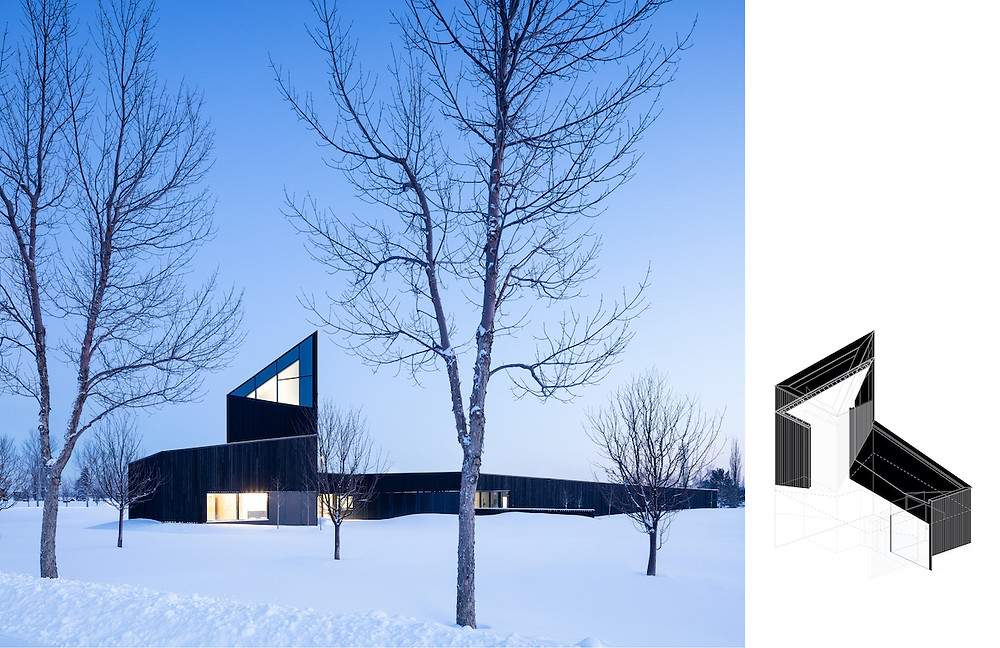 Dark wood building at dusk in snowy landscape, architectural rendering