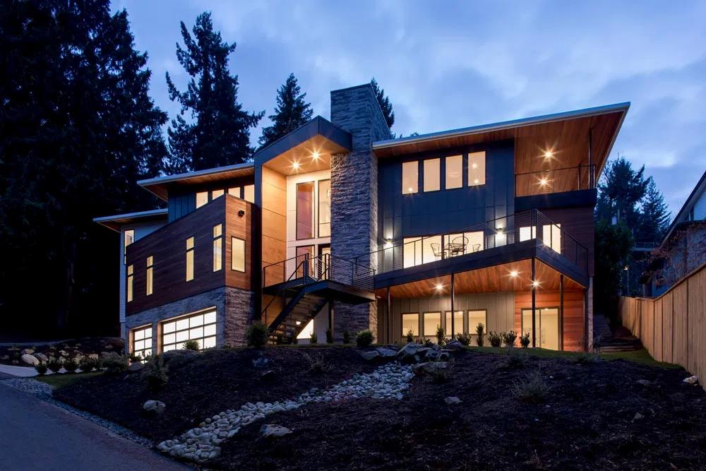 exterior of modern design home at dusk