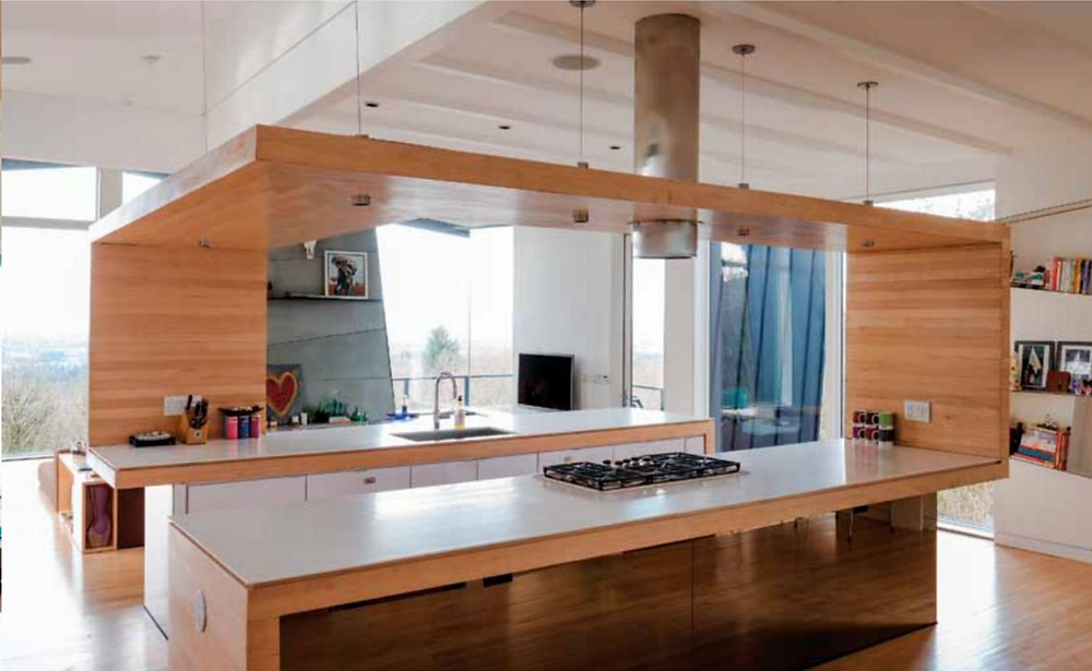 kitchen with wood canopy, counter and island with hood vent