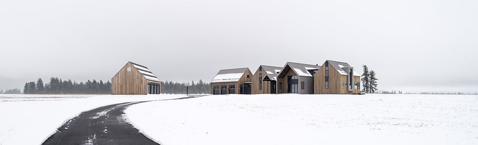 modern house design with open truss shape in snowy rural pacific northwest setting, attached garage, detached garage, wood clad
