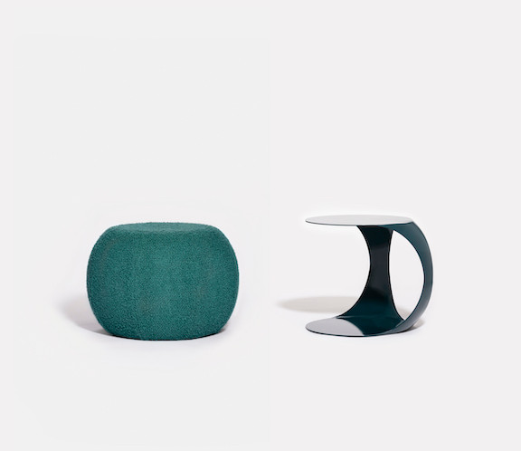 Modular ottoman footstool in green, poof and powder-coated metal side table
