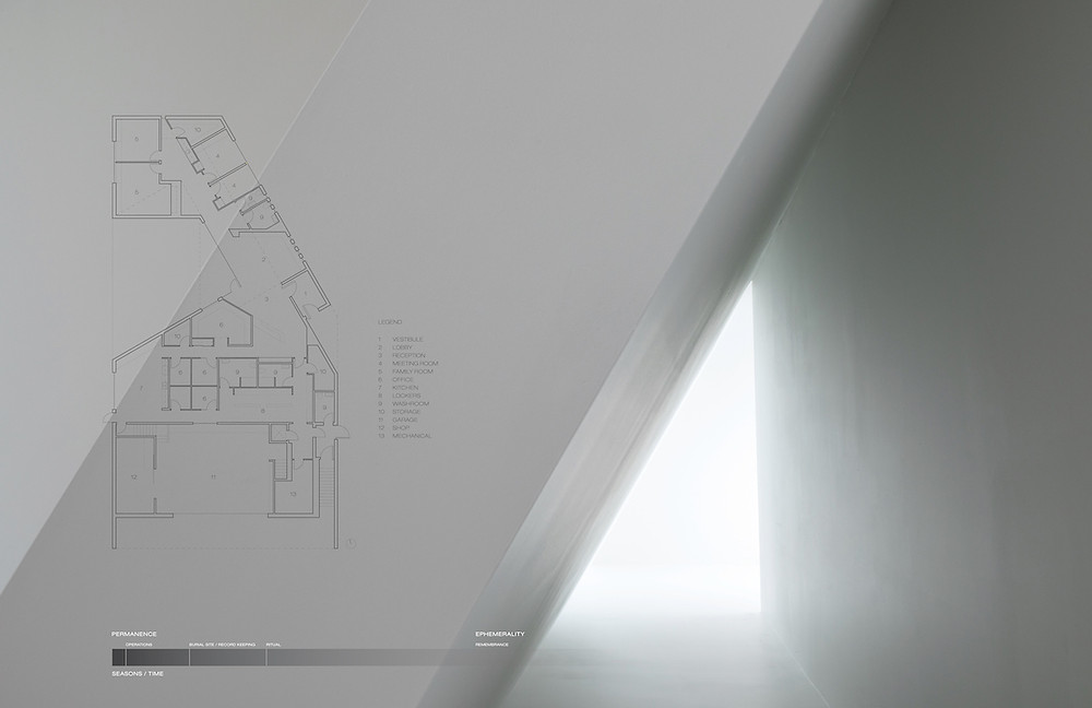 Architectural rendering on white wall; room with white triangle light