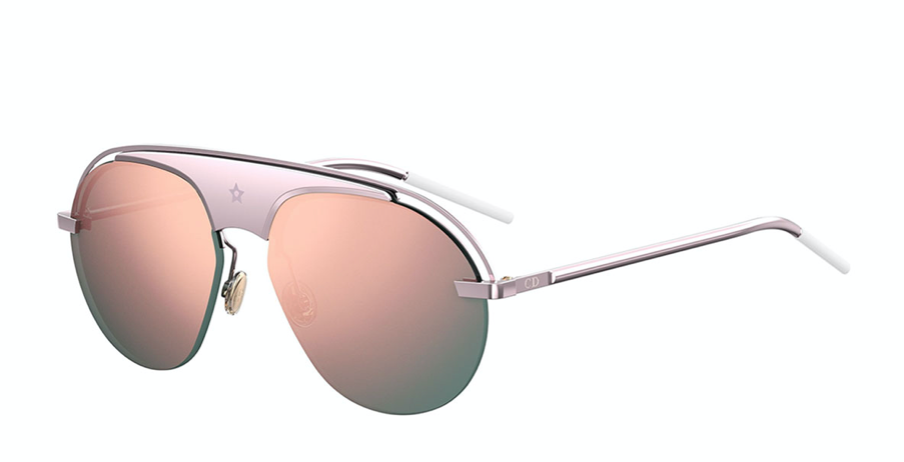 "Christian Dior ""Dio(R)evolution"" pink aviator sunglasses in metal Lens/bridge/temple (in mm): 99-1-145. Mirrored frame front and lenses. Cutout detail at brow bar/temples. Engraved star at bridge. Adjustable nose pads. CD logo at temples. Capped earpieces. 100% UVA/UVB protection. Made in Italy."