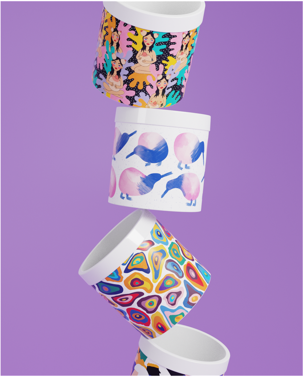 flowerpots with graphic illustrations in bold colors and illustrations by Swedish lifestyle brand Poppy Poppy.