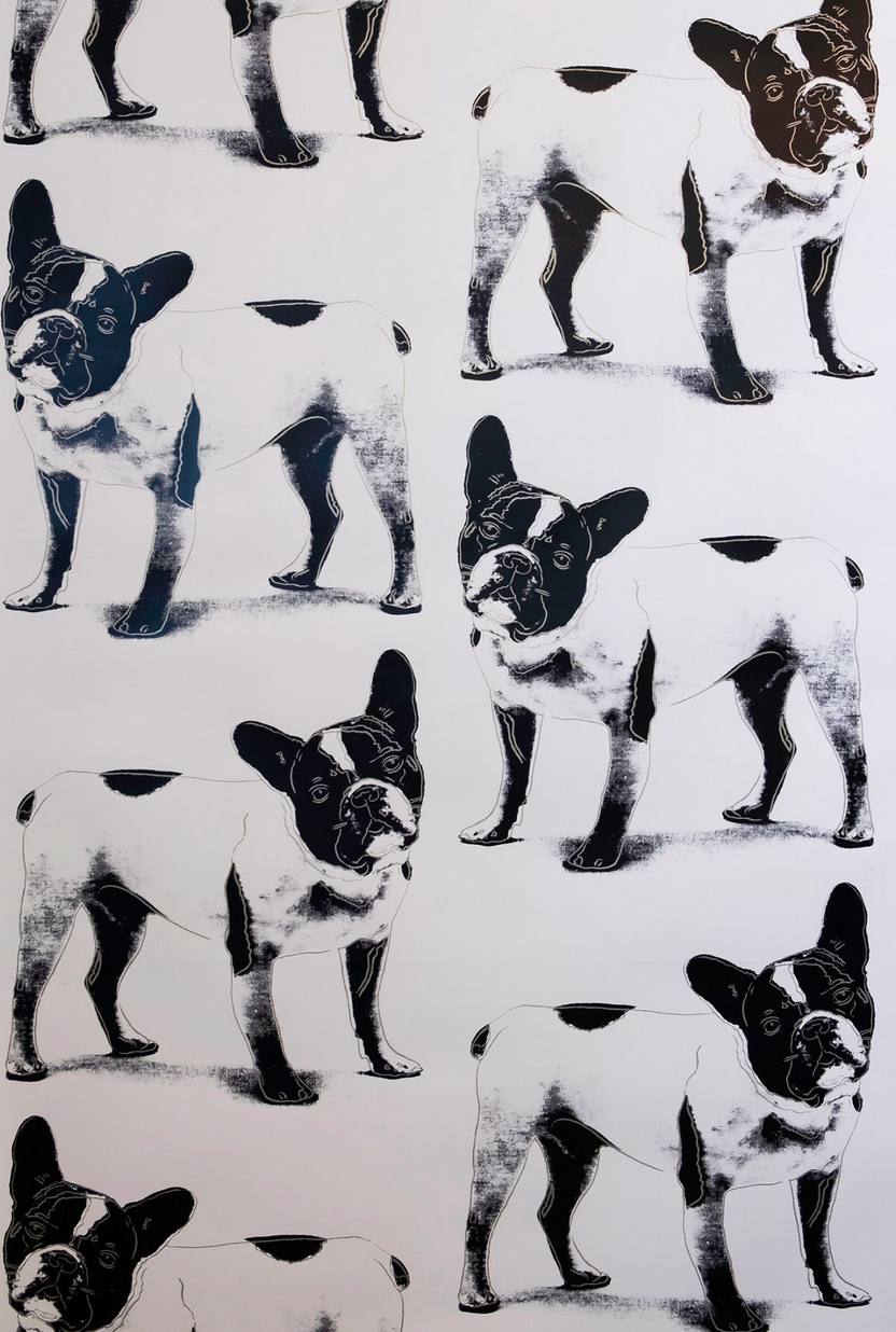 Brooklyn-based wallcovering design company Flavor Paper has added a new handscreened pattern to its exclusive Andy Warhol x Flavor Paper collection.  The new design is a rendering of  Yves Saint Laurent's French bulldog, Moujik, which Warhol had once portrayed via a multi-colored and layered screenprint, shown in silver.