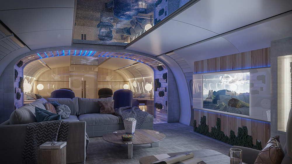 Interior of luxury airplane cabin at night with colored lights