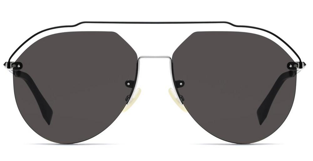 Fendi men aviator sunglasses in black with brow bar, nose big, nose pads