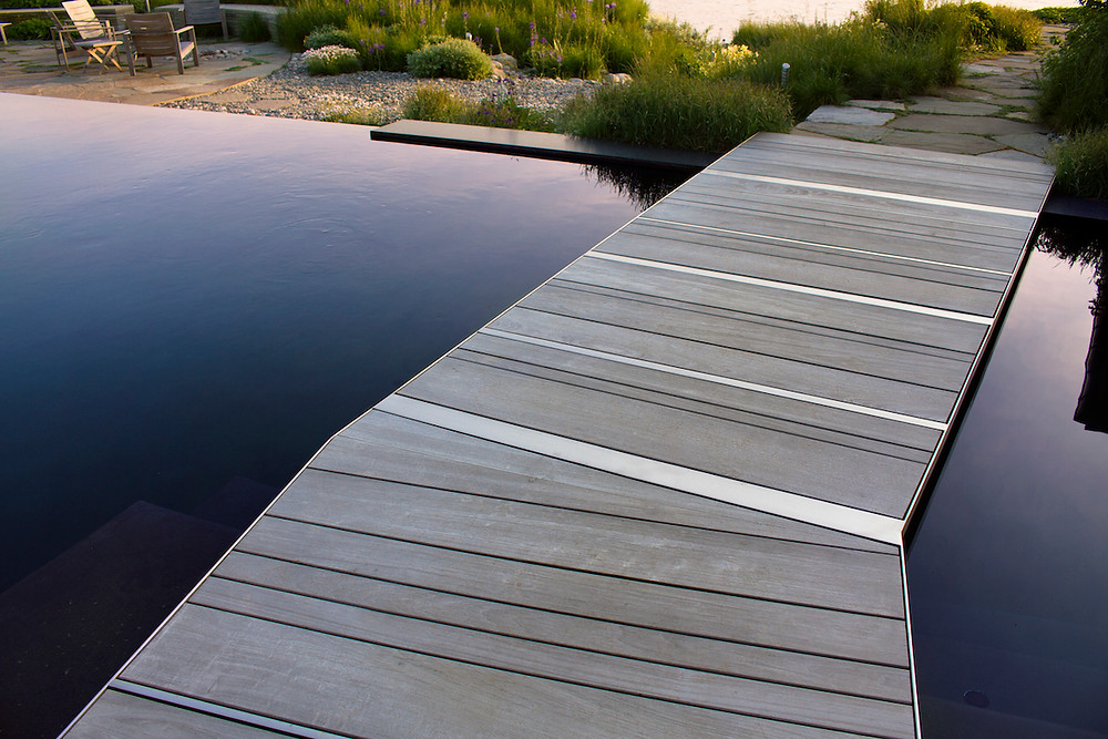 Modern dock on lakefront home
