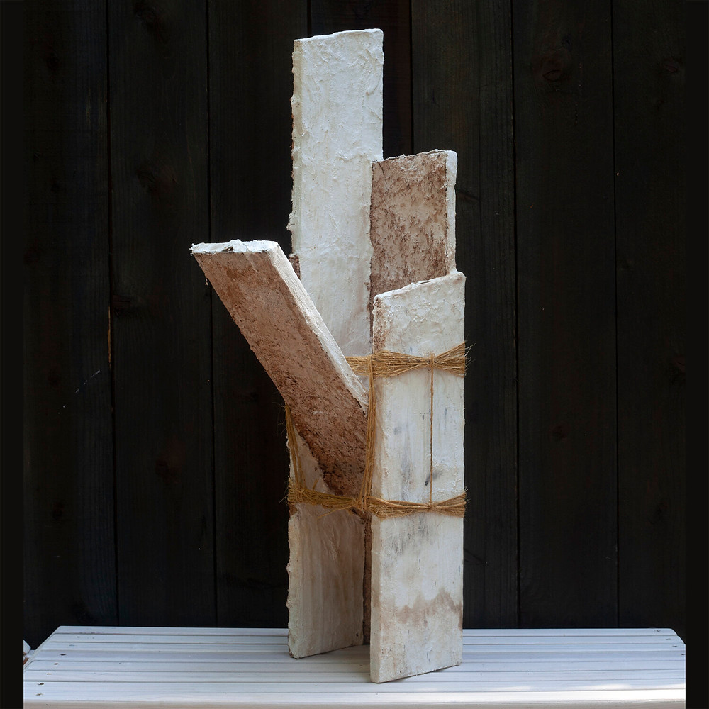 Artist, designer Eric Hildebrandt, Totem 002, 7 wide x 12 deep x 33 high, reclaimed lumber, plaster, madrone wood shavings, madrone wood water, fire, twine. ©De Kwok Photography