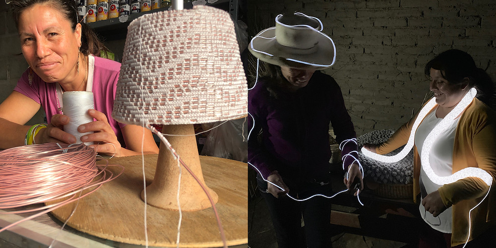 Artisans weaving table lamp and tube light, glowing fibers
