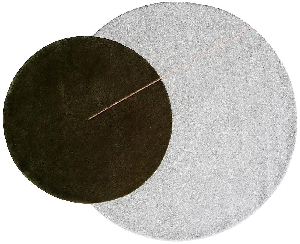 Rug of overlapping circles, gray circle rug, green circle rug, with pink line