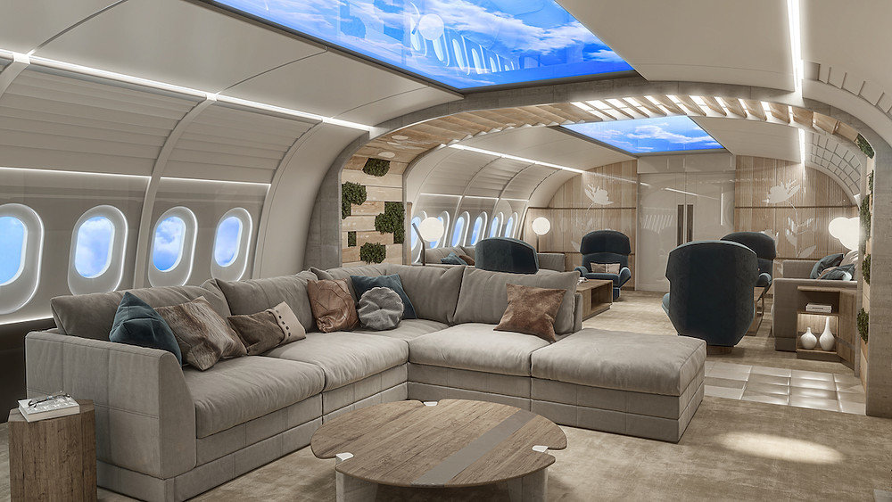 Luxury airplane cabin rendering with plush sofa and pillows, lounge chairs, green wall, sky light simulation