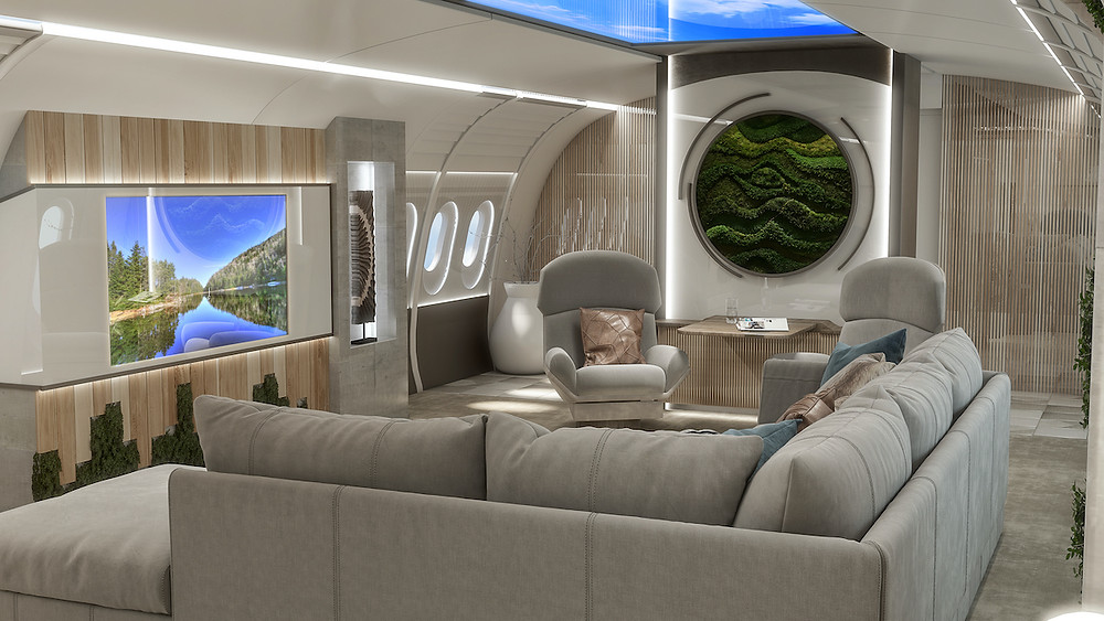 Luxury airplane cabin rendering with plush sofa and pillows, lounge chairs, green wall, sky light simulation, biophilic design, moss wall art