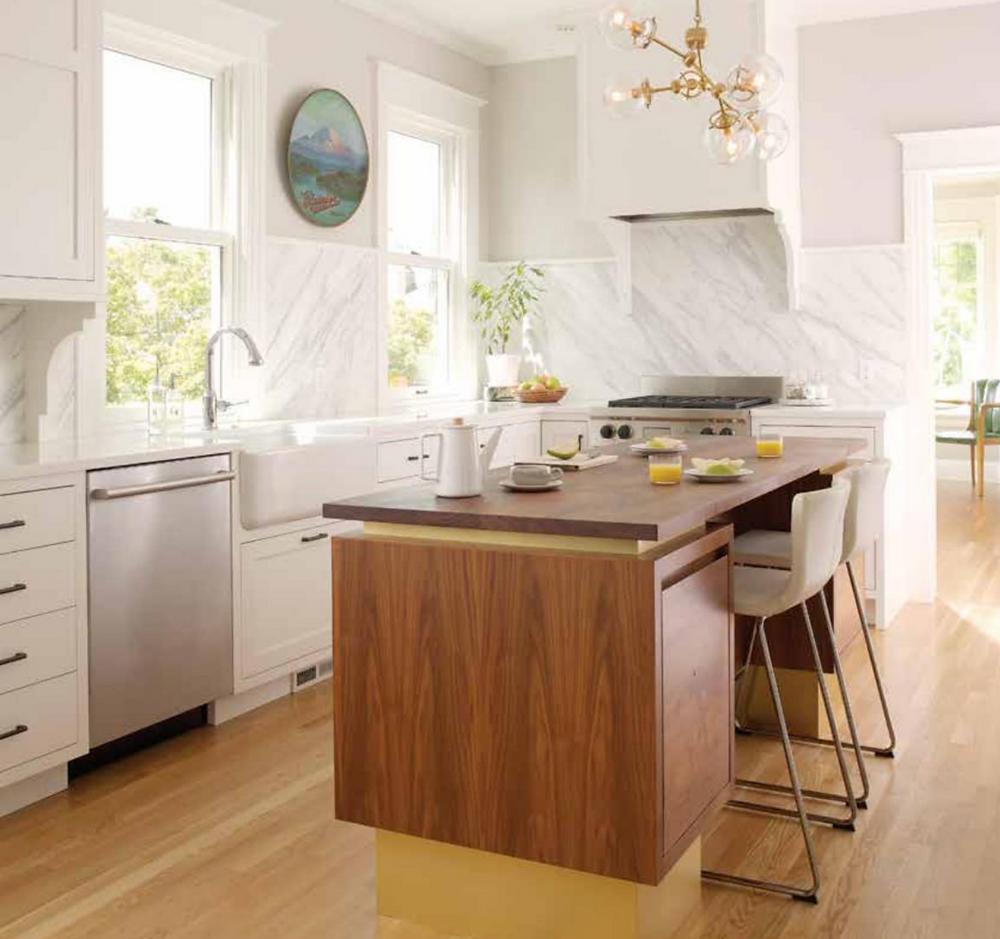 white kitchen, vintage modern, Calacatta marble, walnut and brass island, farmhouse sink, globe and brass light fixture