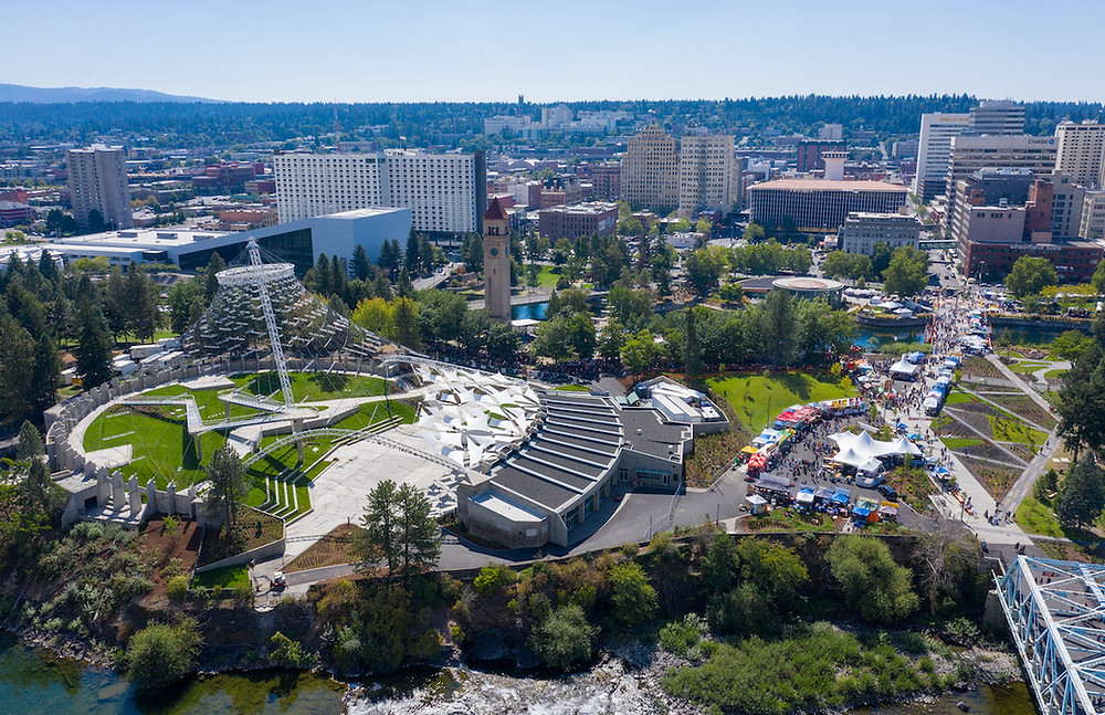 Ariel view of Riverfront Park in Spokane Washington