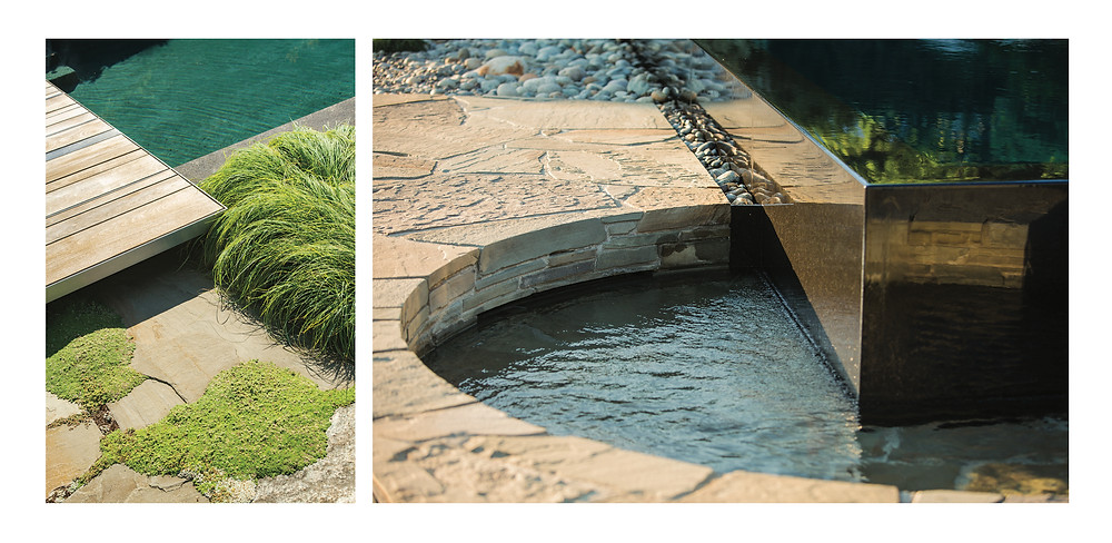 Modern dock and landscaping, modern planter in circular water feature