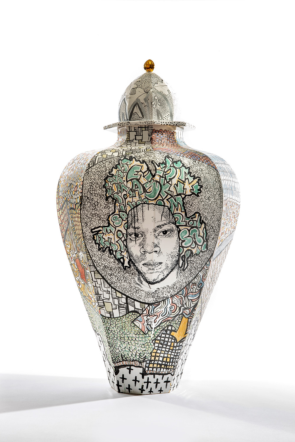 Decorative urn. Same Ol' Crack: Roberto Lugo, 2019: Courtesy of Wexler Gallery
