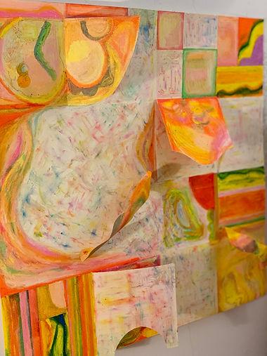 Ingrid Lu_oil pastel on paper, thread_ 2