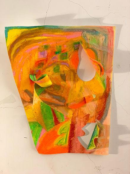 Ingrid Lu_oil pastel on paper, thread_ 1