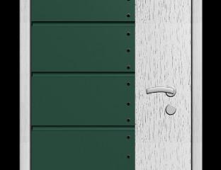 Входная дверь с зеленой вставкой «бутылочное стекло»