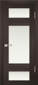 Дверь металлическая черная Венге со стеклом белым матовым
