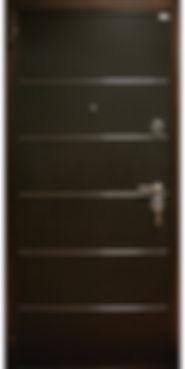 дверь металлическая Венге с молдингами и черной наружной отделкой