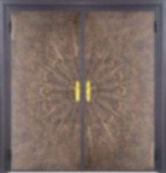 Дизайнерская дверь с отделкой кожей. Необычная двухстворчатая тамбурная дверь .