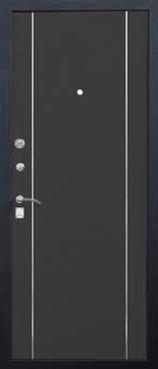 Дверь металлическая Венге с молдингами в стиле хай-тек