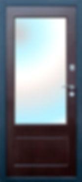 верь металлическая Венге с большим зеркалом