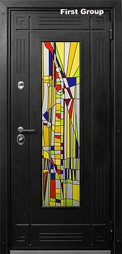 Дверь входная с витражом с абстрактным рисунком Венге.