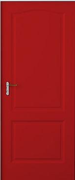 Красная глянцевая входная дверь с отделкой МДФ накладкой
