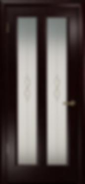 Дверь металлическая черная Венге с  витражом