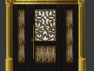 Элитная классическая филенчатая дверь с вставками из шпона редкой породы дерева белый эбен.