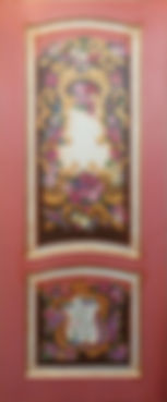 Дверь красная с расписной внутренней панелью МДФ