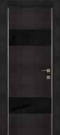 Дверь металлическая черная Венге со стеклом и молдингами