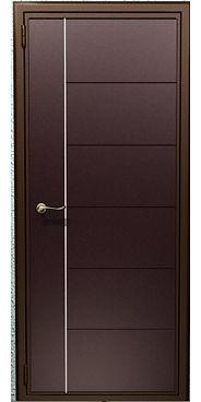 дверь металлическая Венге с молдингом и черной наружной отделкой