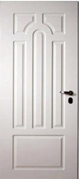 Белая входная дверь с порошковым покрытием и белой панелью МДФ ФГ-ЛТ+2-02