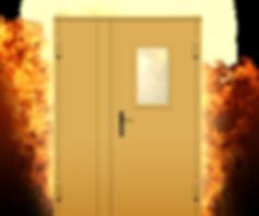 Противопожарная двухстворчатая дверь EI-60 с остеклением