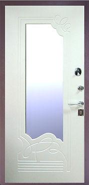 Входная стальная дверь с зркалом с белой отделкой антивандальным порошковым покрытием и белой  МДФ накладкой с зеркальным элементом