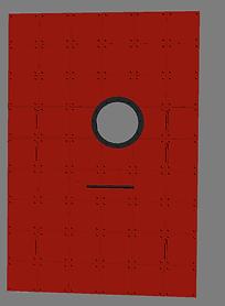 Красная металлическая дверь с эллюминатором