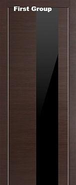 Дверь металлическая черная Венге с черным стеклом