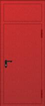 Одностворчатая противопожарная дверь с вставкой - фрамугой красная